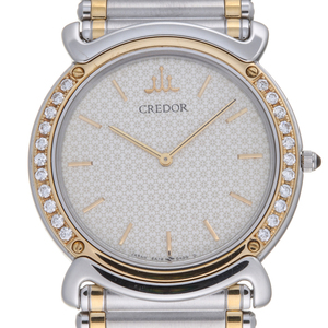 SEIKO Credor Diamond 18K Gold Steel Quartz Ladies Watch 5A74-0190