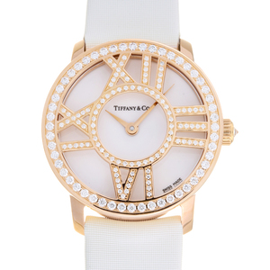 TIFFANY Atlas Cocktail Diamond 18K Pink Gold Leather Quartz Ladies Watch Z1900.10.30E91A