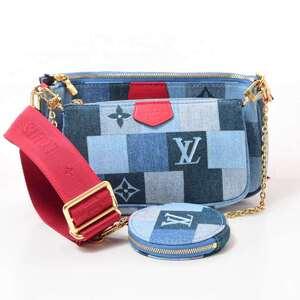 LOUIS VUITTON Louis Vuitton Denim Monogram Multi Pochette Accessoir Shoulder Leather