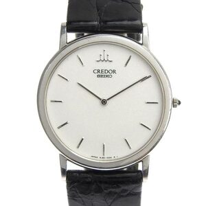 SEIKO Credor 18K White Gold Leather Quartz Mens Watch 8J80-7000