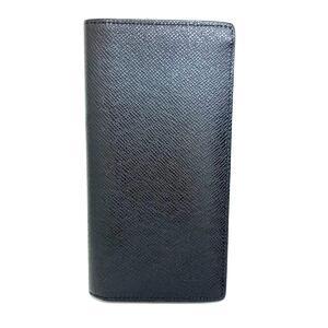 LOUIS VUITTON Louis Vuitton Portofeuil-Braza Men's Long Wallet Glacier Silver Hardware Taiga M32653