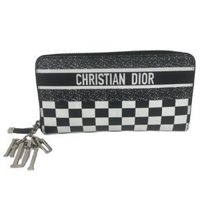 Christian Dior Dior Christian Round Zipper Wallet Men's Leather