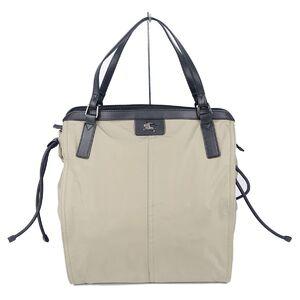 Burberry BURBERRY back check nylon canvas leather tote bag handbag beige