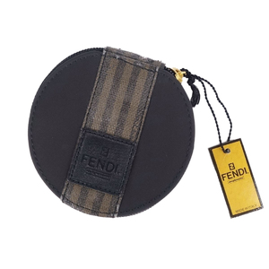 FENDI Pecan Leather Nylon Canvas Cosmetic Pouch Ladies