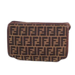 Fendi Zucca pattern clutch bag canvas leather ladies