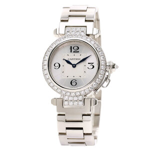 Cartier WJ11924G Pasha 32 Diamond Bezel Watch K18 White Gold Ladies