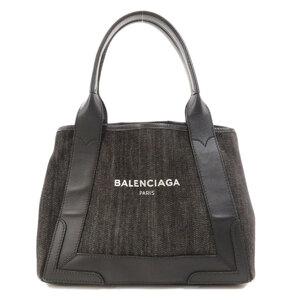 Balenciaga 339933 Navy Hippo S Tote Bag Denim Leather Ladies