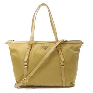 Prada Logo Plate Tote Bag Leather Ladies