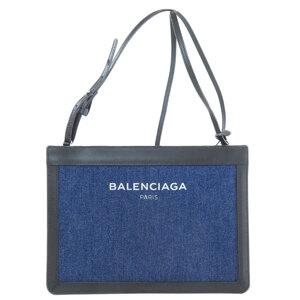 Balenciaga 339937 Navy Pochette Shoulder Bag Denim Leather Ladies