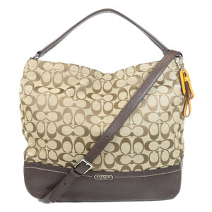 Coach F23279 Signature 2WAY Shoulder Bag Canvas Leather Ladies