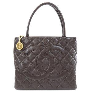 Chanel Reprint Tote Brown Gold Hardware Bag Caviar Skin Ladies