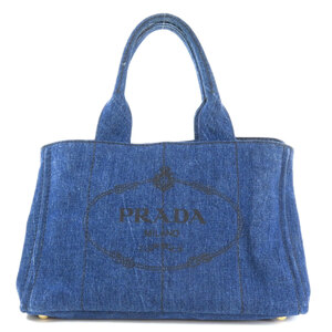 Prada Kanapat Tote Bag Denim Ladies