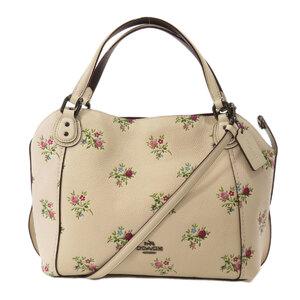 Coach 25620 Flower Motif 2WAY Tote Bag Leather Ladies