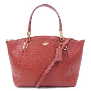 Coach 33733 Logo Motif 2WAY Handbag Leather Ladies
