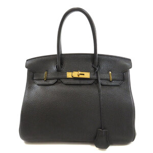 Hermes Birkin 30 Gold Hardware Black Handbag Taurillon Ladies