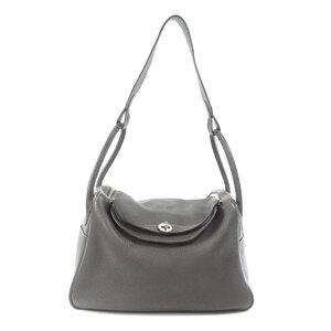 Hermes Lindy 34 Silver Hardware Graphite Handbag Taurillon Ladies