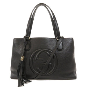 Gucci 308363 Soho Tassel Interlocking G 2WAY Tote Bag Calf Ladies