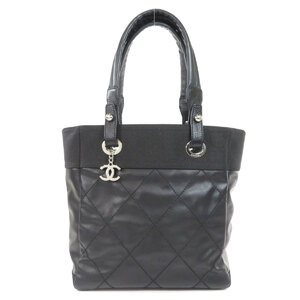 Chanel Paris Biarritz Tote Silver Hardware Bag Coated Canvas Ladies
