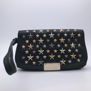 Jimmy Choo Star Studs Ladies Pouch Leather Black