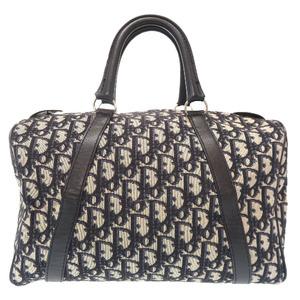 Christian Dior Trotter Navy Canvas Mini Boston Bag Handbag