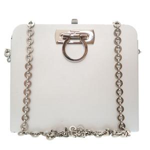 Salvatore Ferragamo Gancini Aluminum Silver AU-21 6717 Chain Shoulder Bag