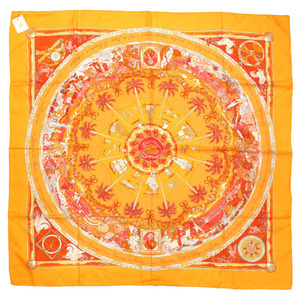 Hermes Carre 90 PER ASTRA AD Scarf Orange Silk