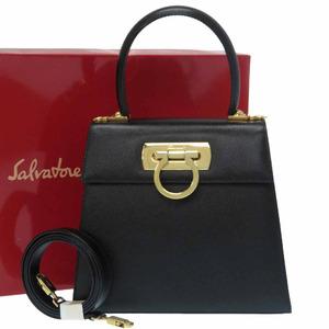 Salvatore Ferragamo Gancini 2WAY Shoulder Handbag AQ-21 2193 Gold Hardware Leather Black