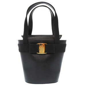 Salvatore Ferragamo Vala Ribbon Leather Black Gold Hardware BA 216161 Handbag Bag