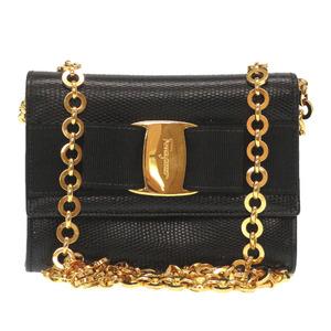 Salvatore Ferragamo Vala Ribbon Leather Black AQ 213202 Gold Chain Shoulder Bag
