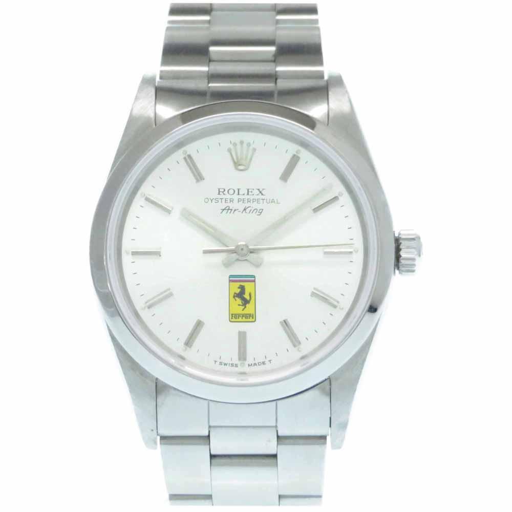 ロレックス フェラーリ エアキング 14000 自動巻き 時計 シルバー メンズ