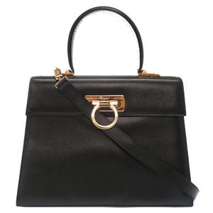 Salvatore Ferragamo Gancini Leather Black Gold Hardware AF-21 2161 Handbag Bag
