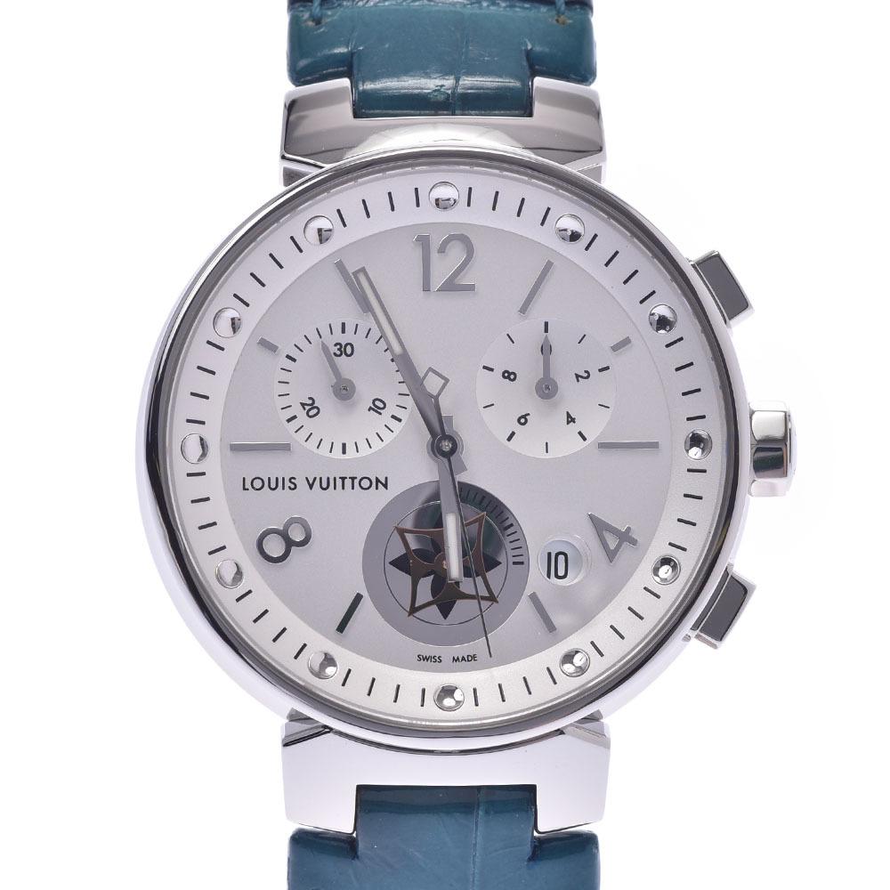 LOUIS VUITTON Tambour 35 MoonStar Chrono Q8G00Z Ladies Leather Watch Quartz White Dial