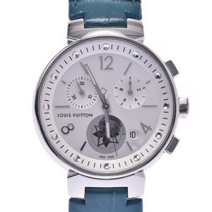 LOUIS VUITTON Tambour Moon Star Steel Leather Quartz Ladies Watch Q8G00Z