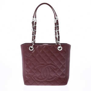 CHANEL PST Chain Tote New Metal Fittings Matrasse Bordeaux Silver Women's Caviar Skin Bag