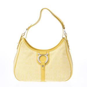Salvatore Ferragamo Gancio metal fittings yellow silver ladies canvas calf one shoulder bag