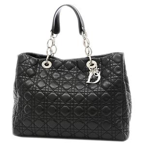 Christian Dior Dior Canage Tote Lambskin Black Silver Hardware CAL44956 Bag Handbag