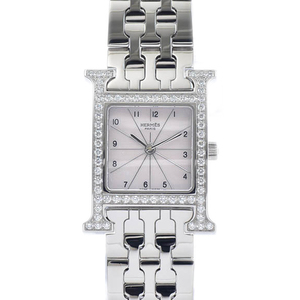 HERMES H Watch Diamond MOP Dial Steel Leather Quartz Ladies Watch HH.230
