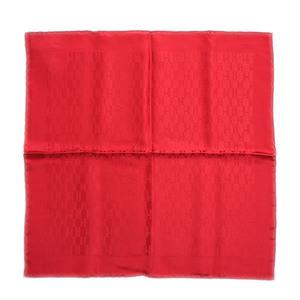 Hermes Pocket Chief Handkerchief Grand H Rouge 100% Silk