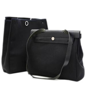 Hermes Ale Bag MM Canvas Leather Black Handbag