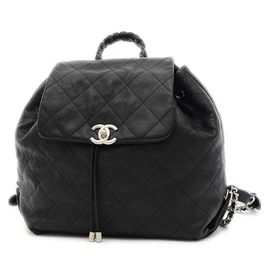 Chanel Coco Mark Matrasse Backpack Leather Black A57138
