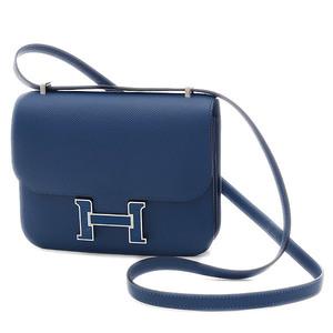 Hermes Constance 3 Mini 18 Epson Deep Blue Silver Lacquer Bracket Shoulder Bag