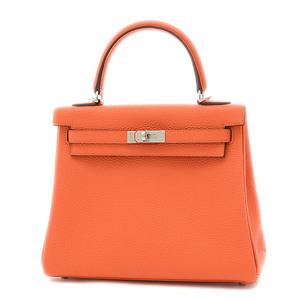 Hermes Kelly 25 Inner Stitch Togo Fu Orange Silver Hardware Handbag