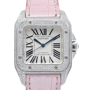 CARTIER Santos 100 Diamond 18K White Gold Leather Automatic Mid Size Watch WM501751
