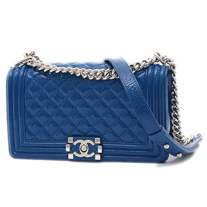 Chanel Boy Chain Shoulder Bag Patent Blue Silver Hardware A67086