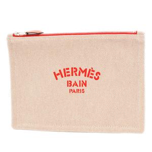Hermes Yotting PM Flat Pouch Rouge Canvas