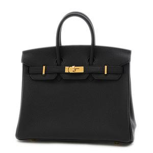 Hermes Birkin 25 Togo Black Gold Hardware Handbag