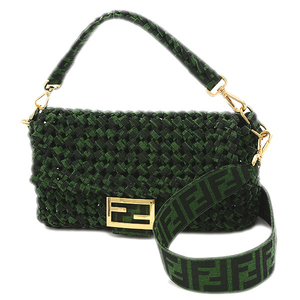 Fendi Baguette Bag 2Way Jacquard Fabric Green 8BR600