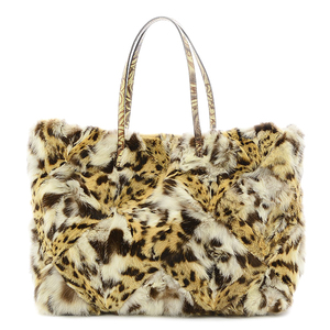 Fendi Fur Tote Bag Leopard Multicolor