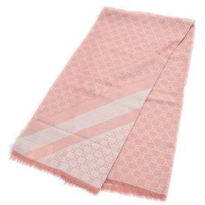 Gucci GG Mark Large Stole Scarf Silk Wool Pink White 281942