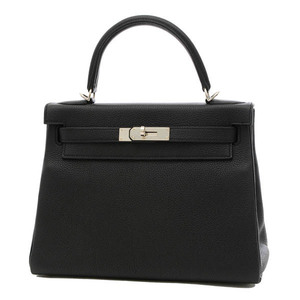 Hermes Kelly 28 Togo Inner Stitch Black Silver Hardware Handbag